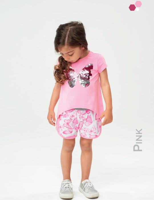 Kislány flitteres pillangós rózsaszín pamut póló