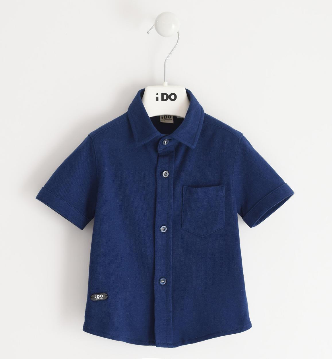 Rövid ujjú pamut kék ing