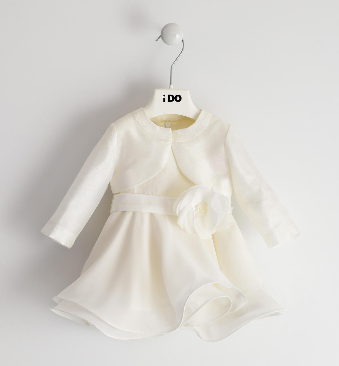 elegante abito con raffinato coprispalle panna fronte 01 0444j13100 0112
