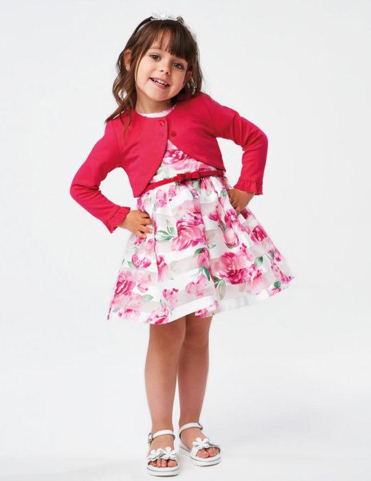 rózsaszín virágos alkalmi ruha