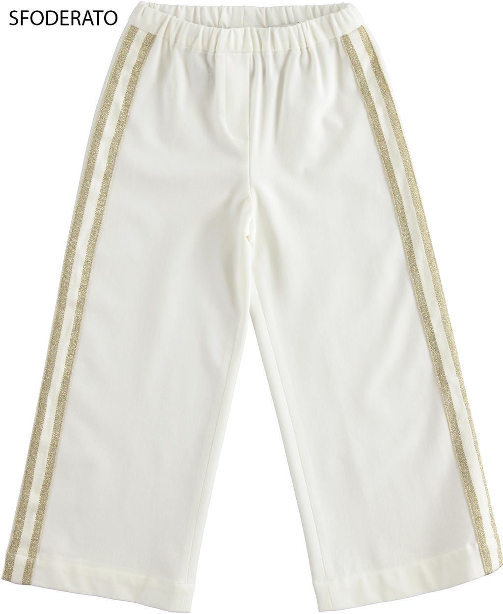 elegante pantalone modello palazzo per b panna fronte 01 2564j52200 0112