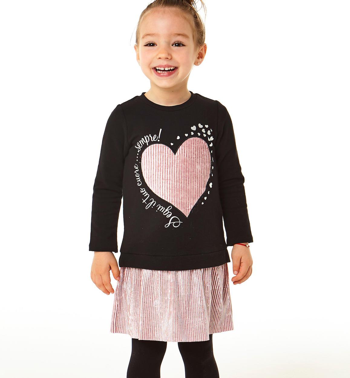 Outlet fekete rózsaszín ruha szívecske 50% kedvezménnyel
