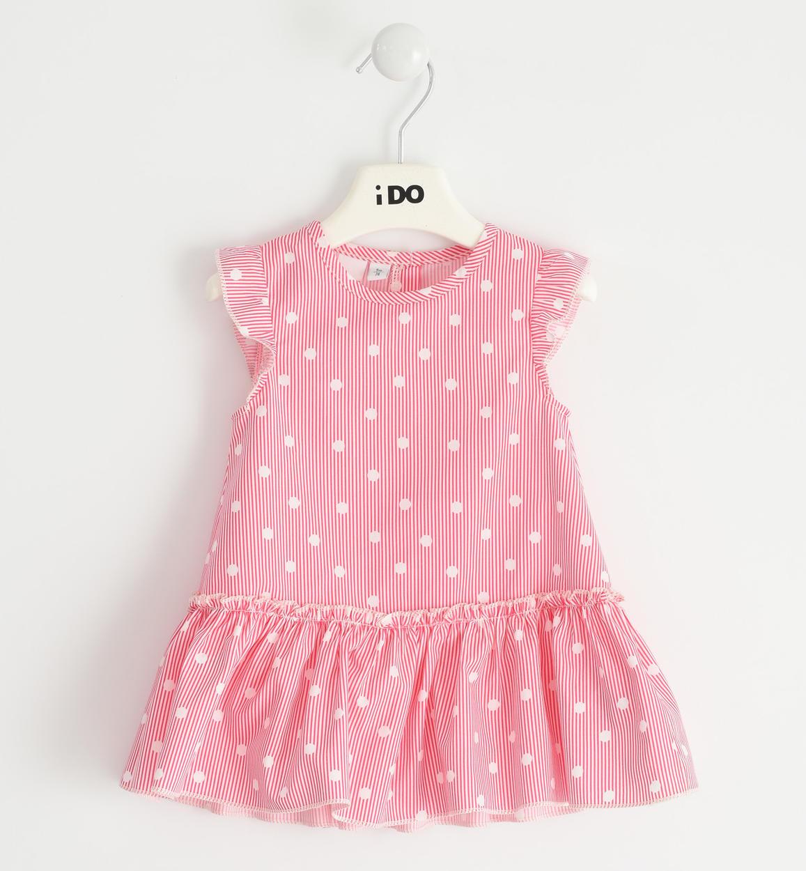 Rózsaszín pöttyös pamut ruha