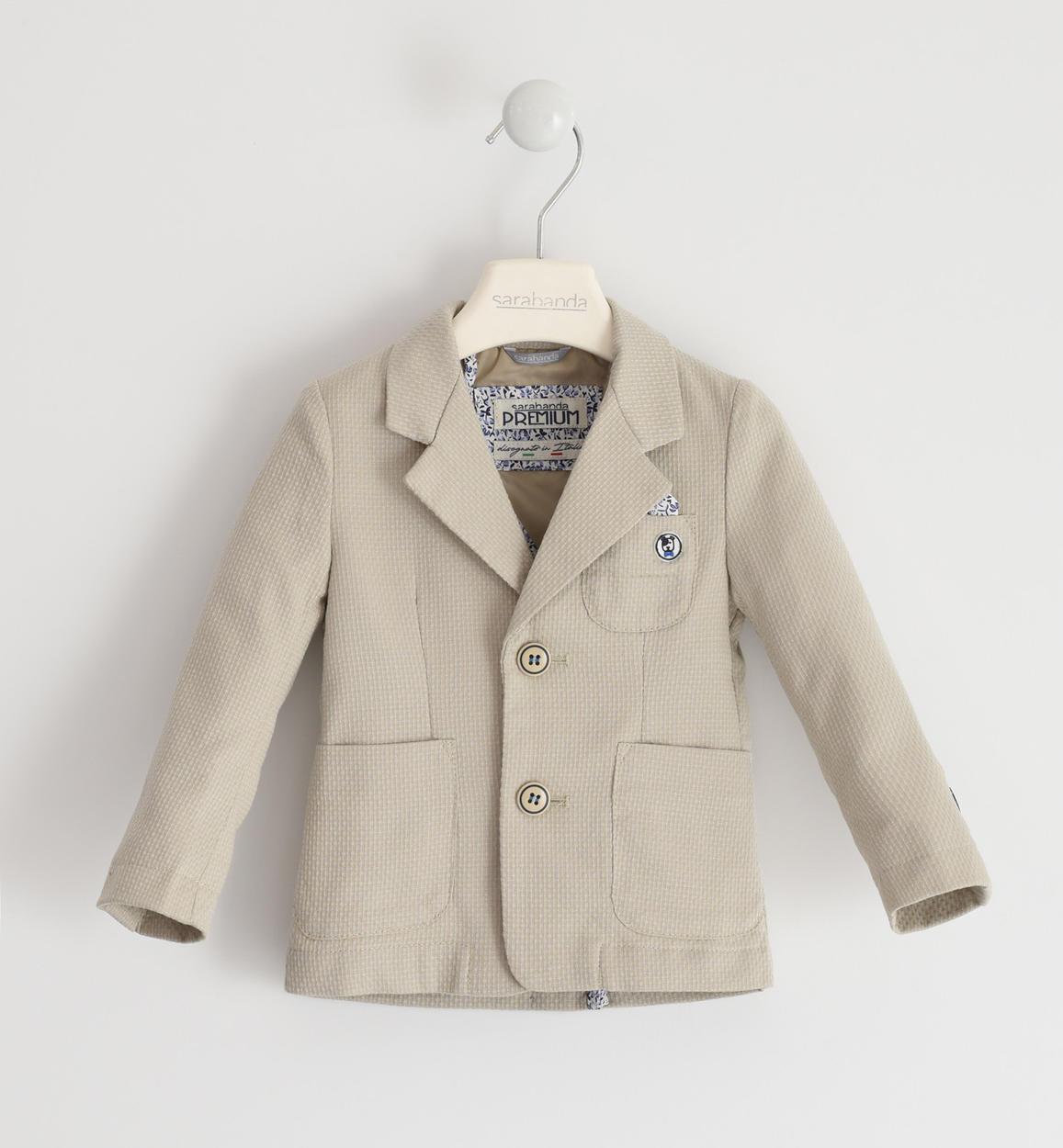 graziosa giacca micro fantasia per bambi beige fronte 01 1240j16400 0435