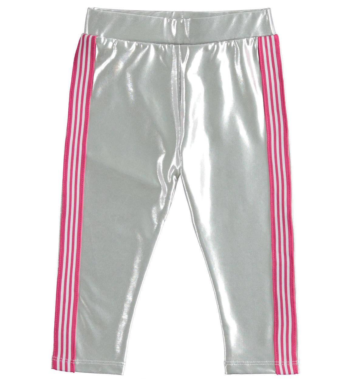 Ezüst kislány leggings oldalán rózsaszín csíkkal leggings