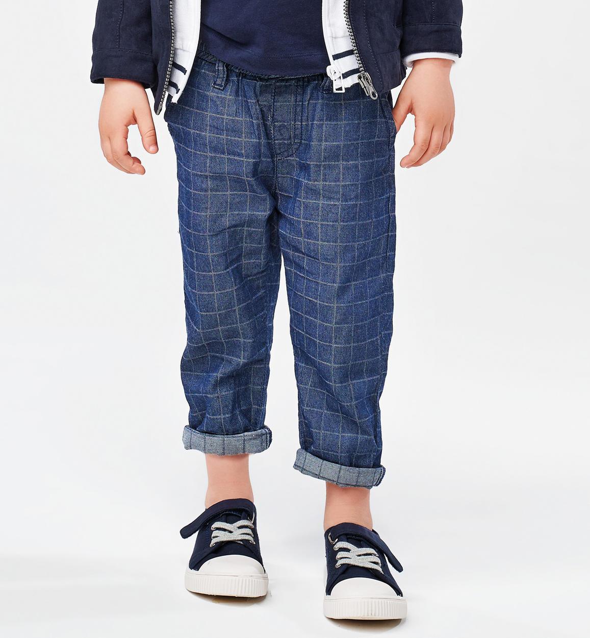 pantalone 100 cotone tinto filo a quadr stone washed fronte 01 1224j25100 7450 150x150
