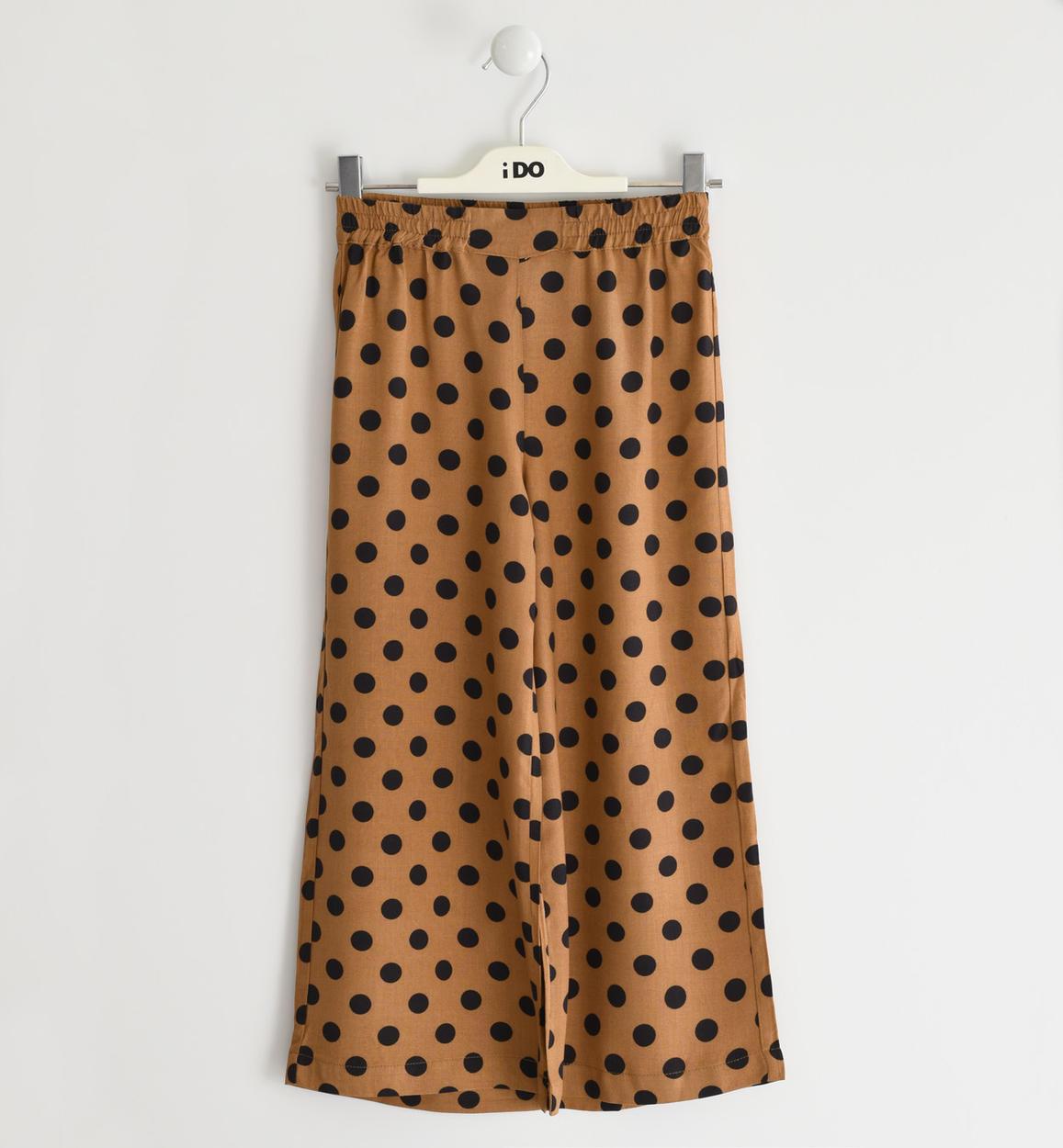 pantalone a palazzo con pois per bambina marrone retro 02 2564j52300 6ml5