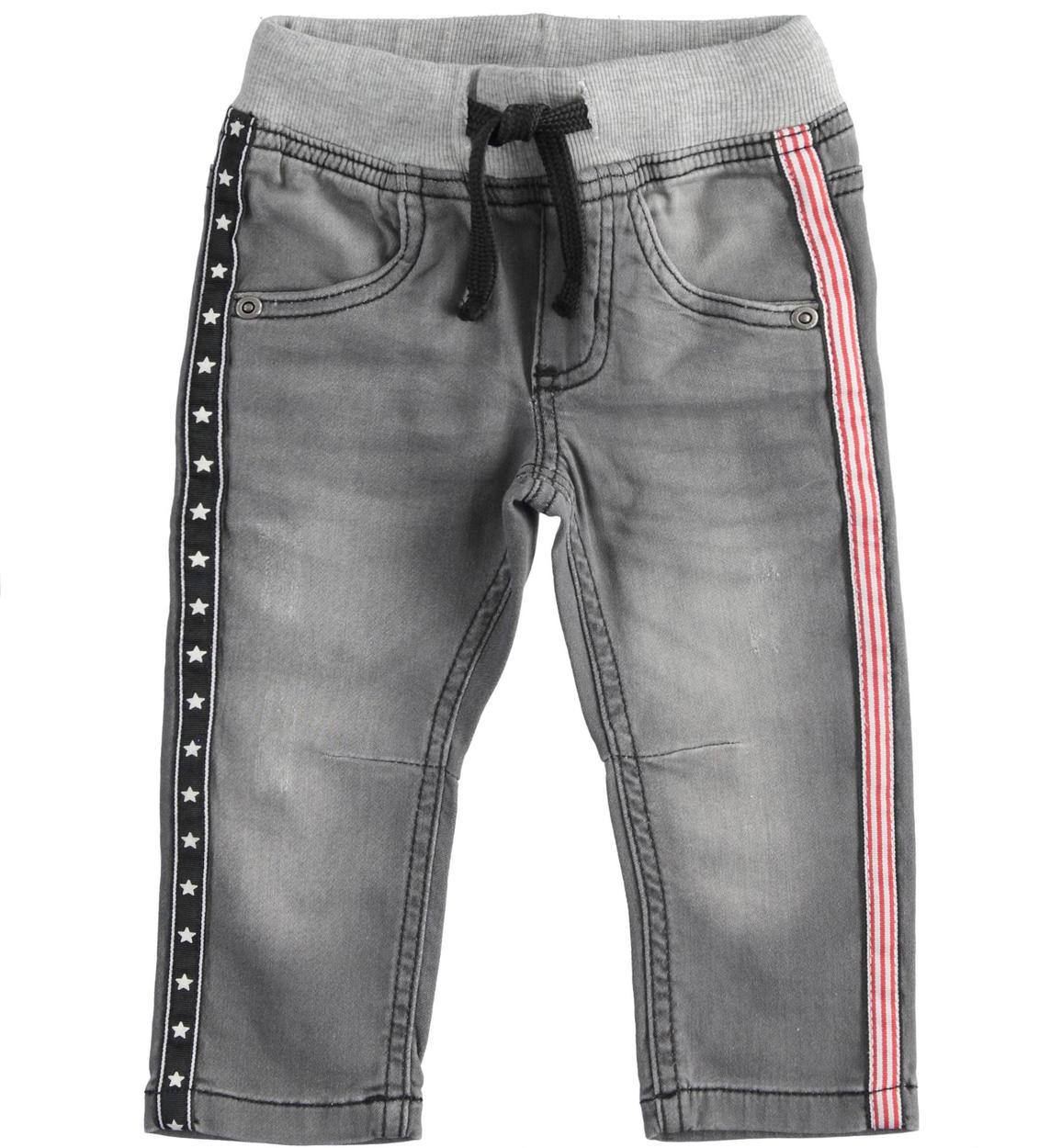 pantalone in denim maglia con nastri in grigio chiaro fronte 01 1224j24800 7992