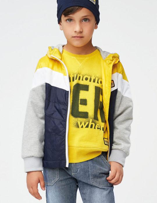 átmeneti vékony fiú kabát citromsárga sötétkék szürke