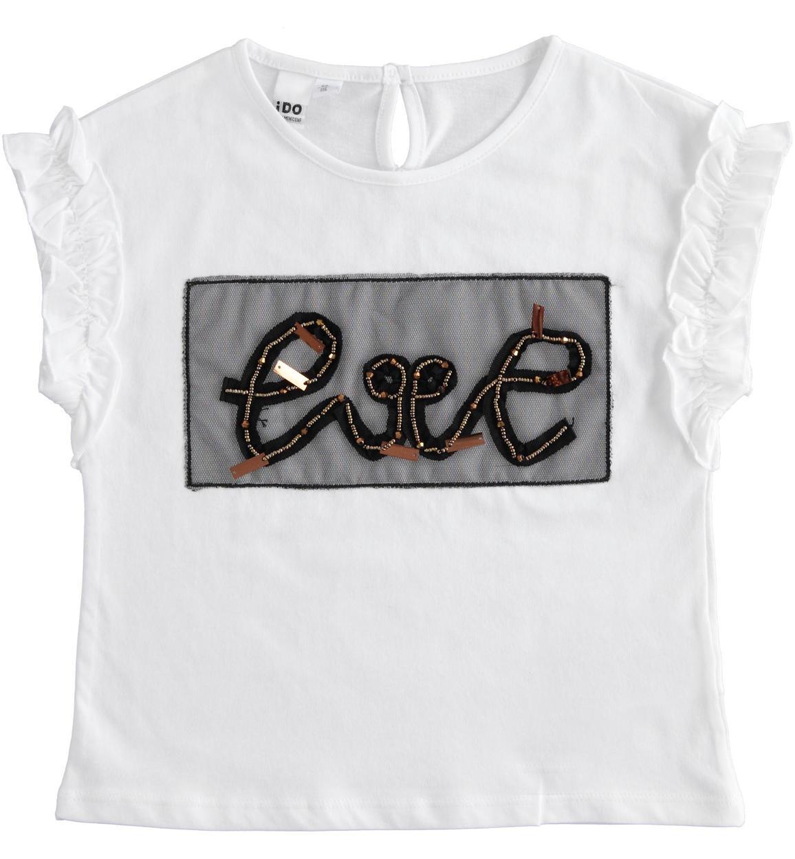 feliratos fehér kislány pamut póló