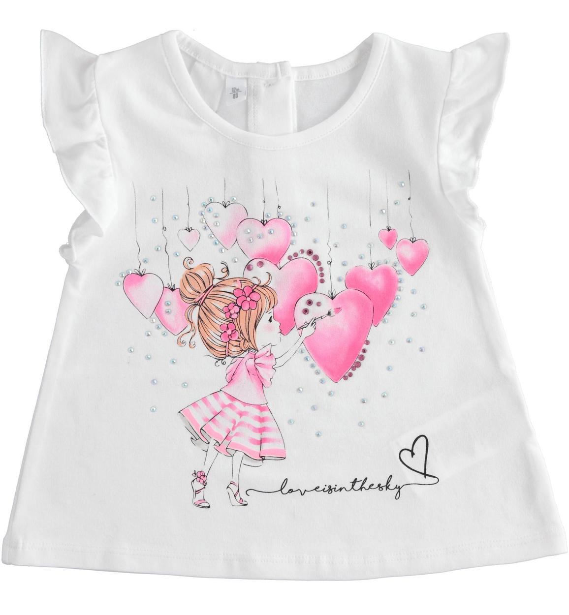 kislány póló fehér rózsaszín szivekkel