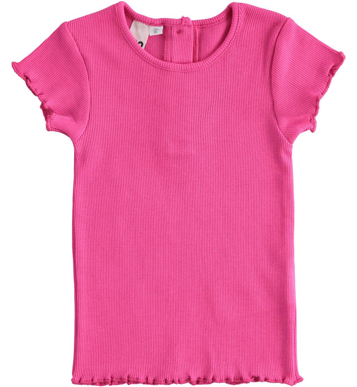 tshirt in tessuto di costina per bambin fuxia fronte 01 1494j31500 2445