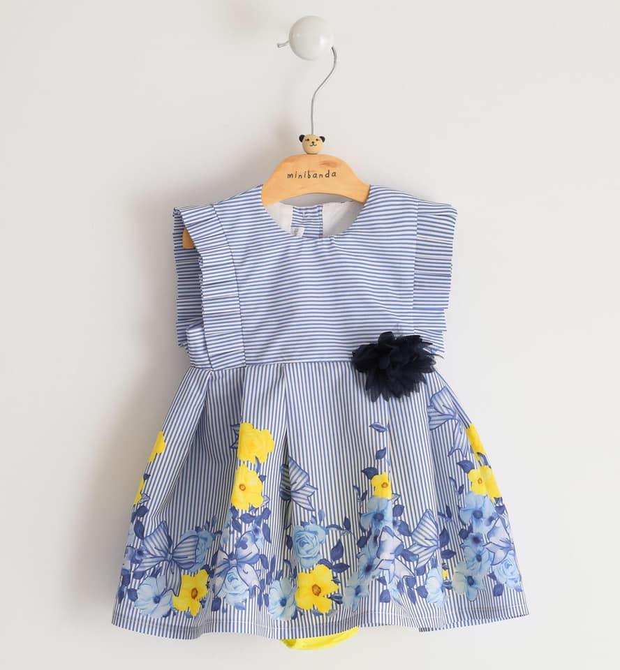 kislány gyerek ruha kék csíkos sárga virágokkal