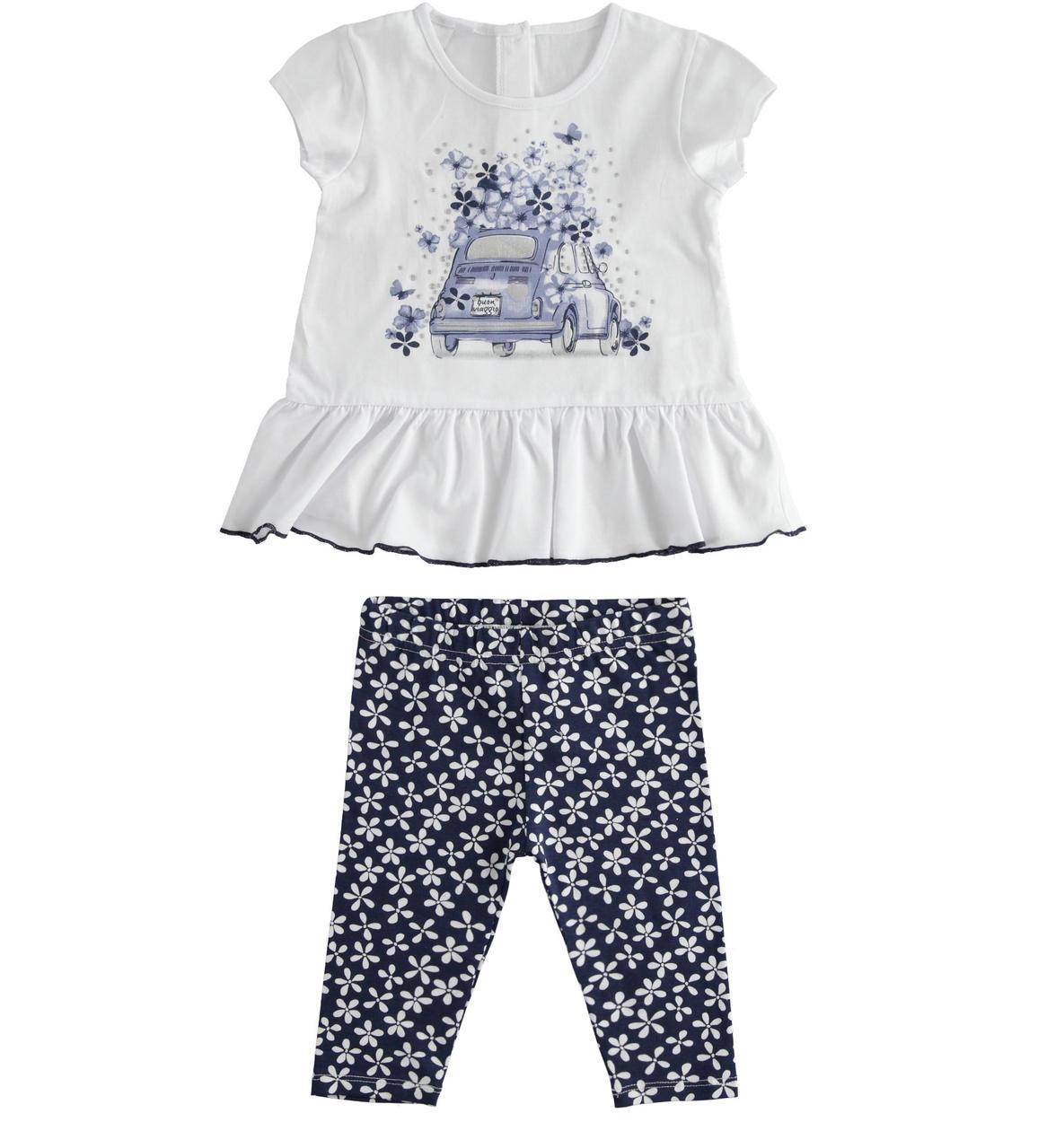 pamut leggings virágokkal és fehér kislány póló