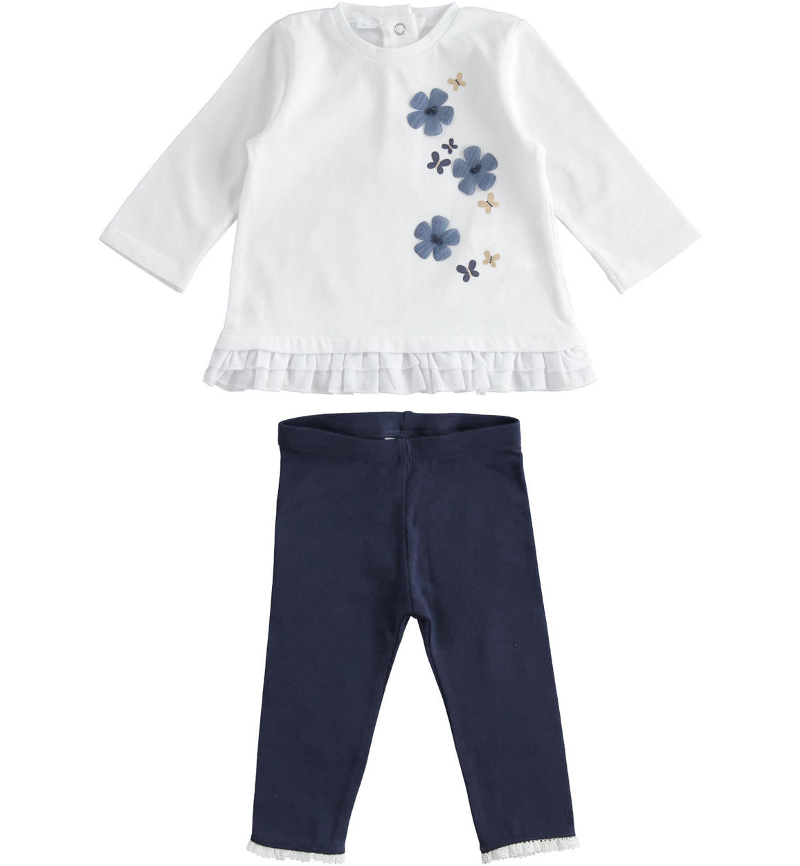 fehér virágos felső és kék csipke aljú kislány bébi leggings