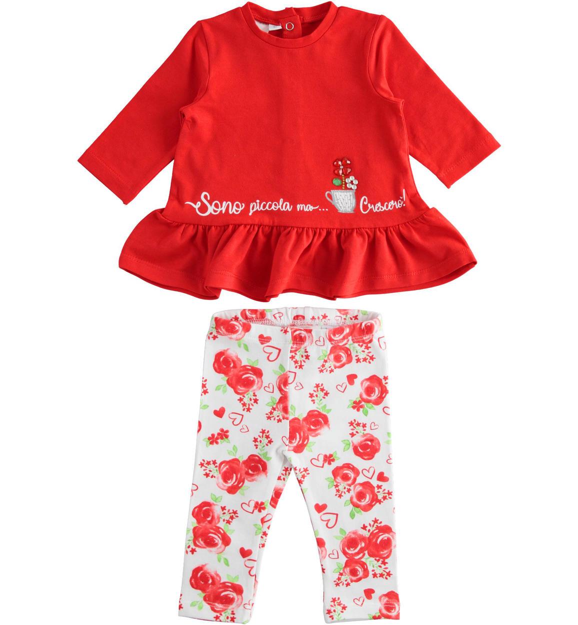 piros rózsás pamut szett leggingssel