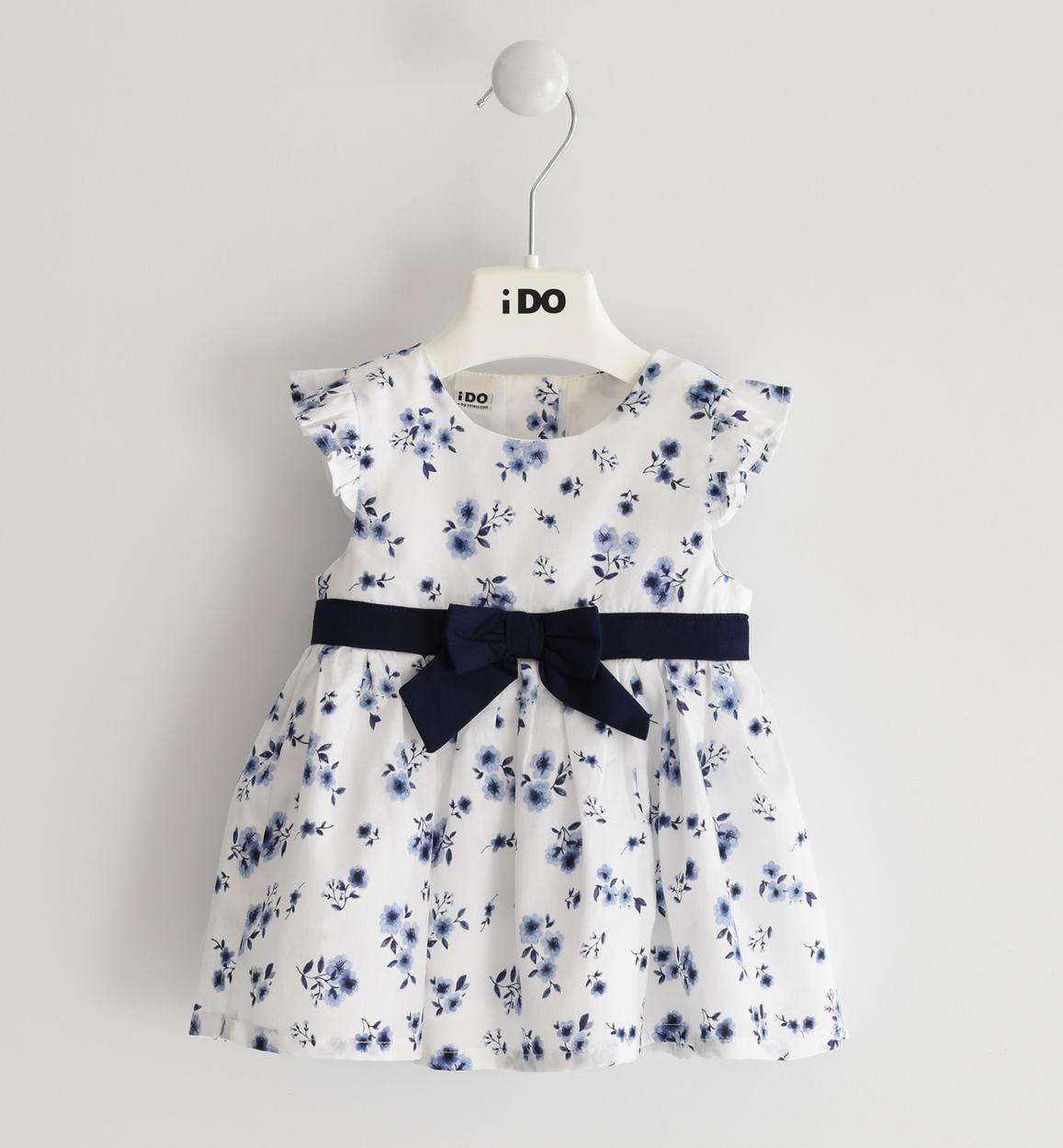 kék kislány bébi ruha virágokkal masnis övvel