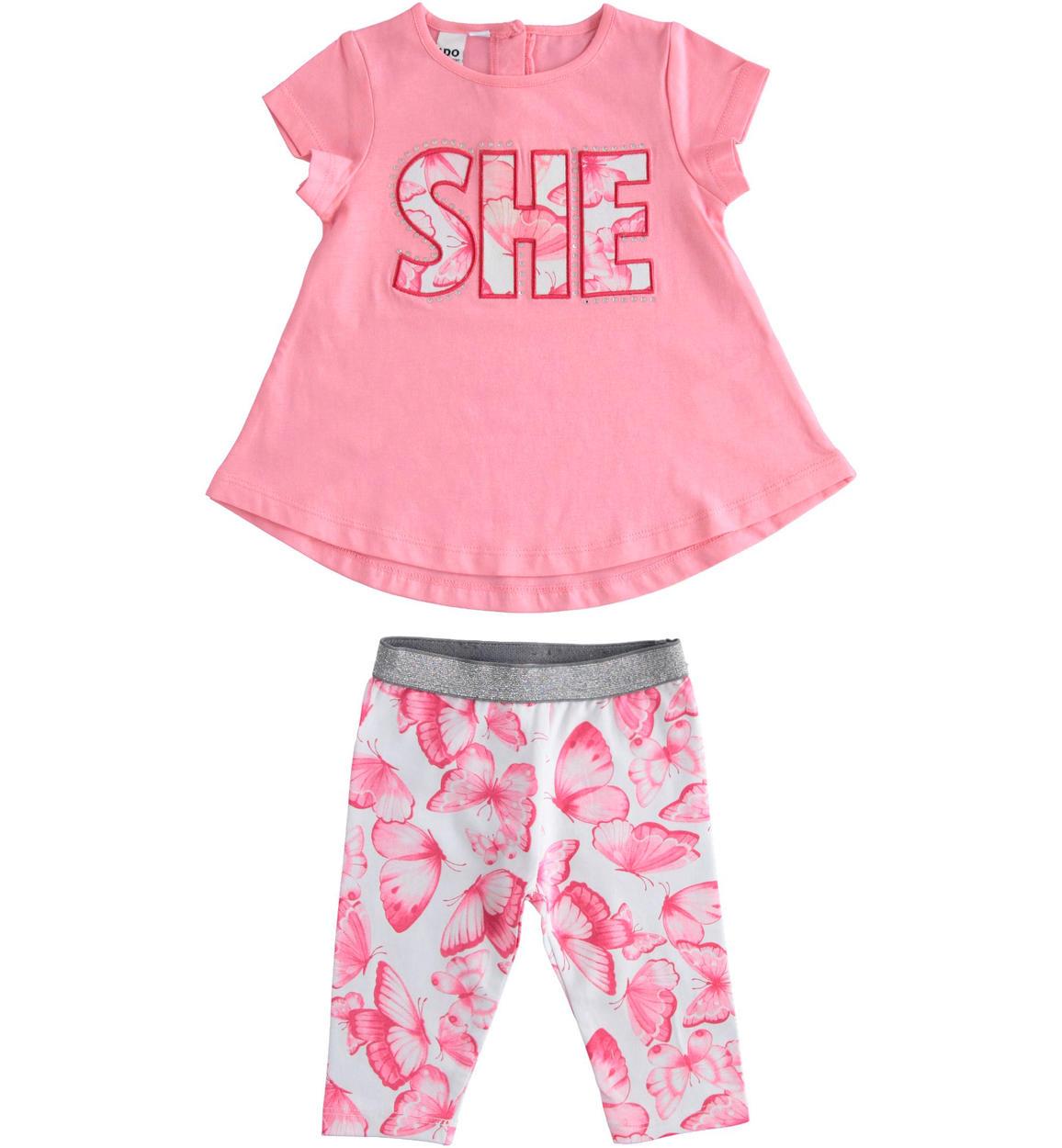 Pillangós rózsaszín 2 részes pamut kislány szett