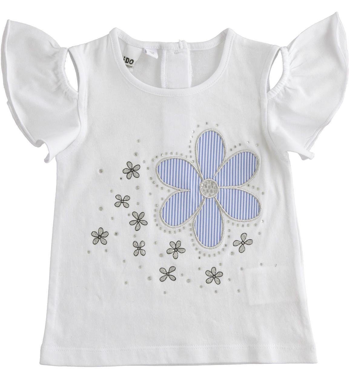 kislány gyerek fehér pamut virágos póló
