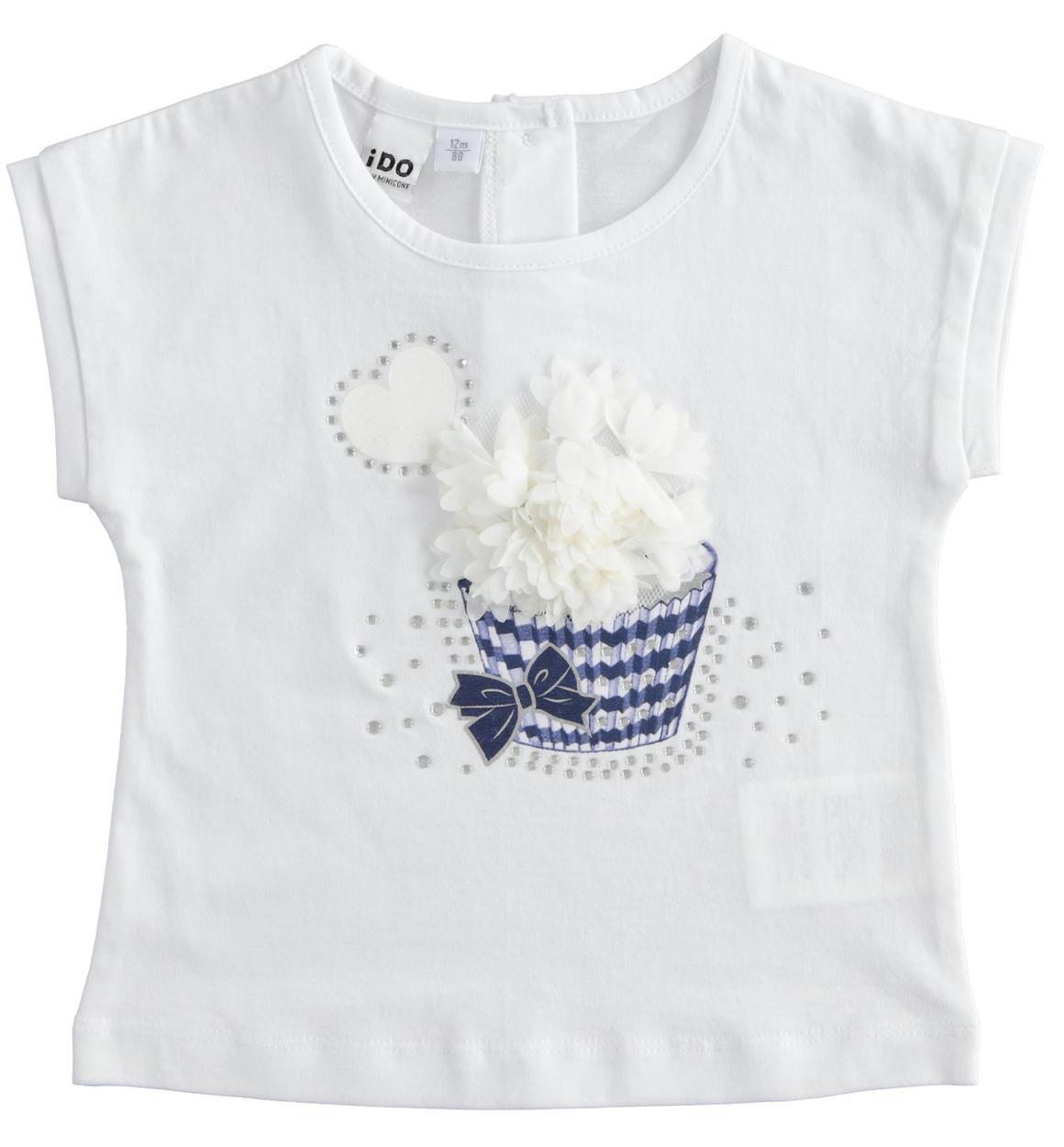 kislány gyerek pamut fehér póló muffin mintával