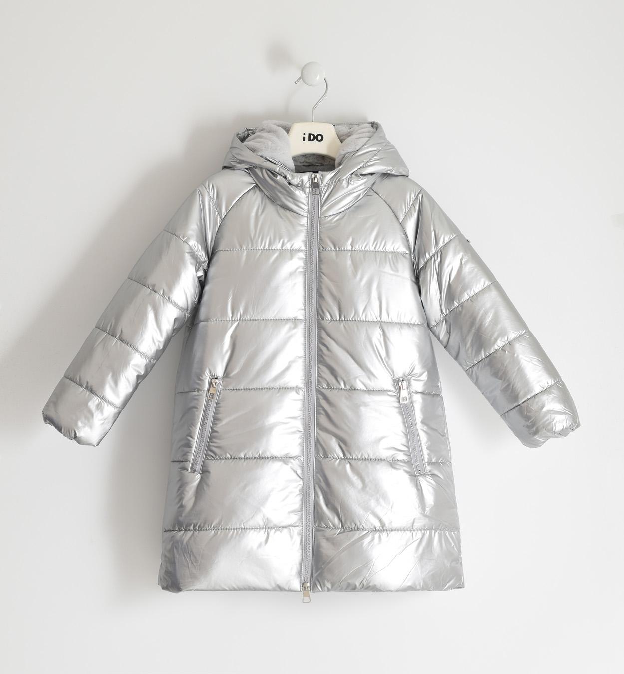 Ezüst hosszított téli gyermek kabát