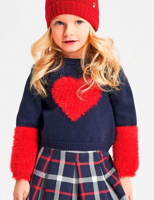 Szívecskés kötött kislány pulóver