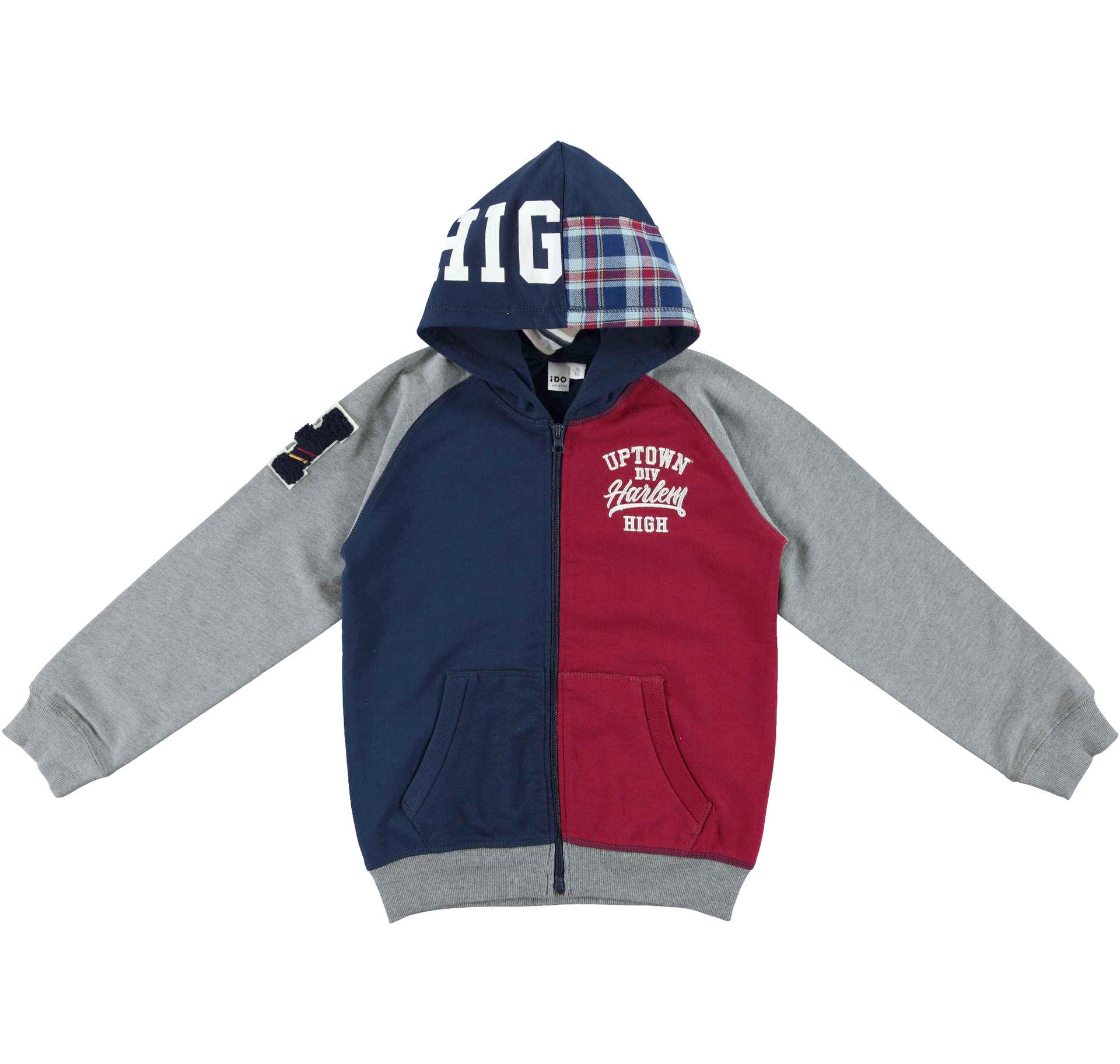 kapucnis cipzáros fiú pulóver