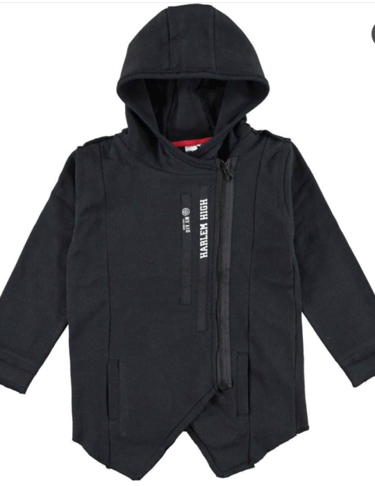 kapucnis cipzáros pulóver fekete
