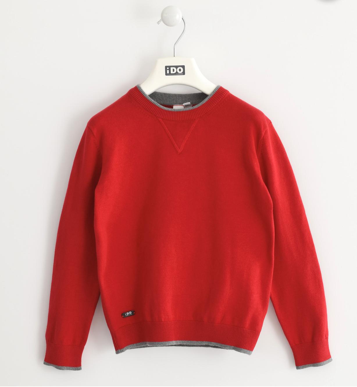 piros kötött fiú pulóver