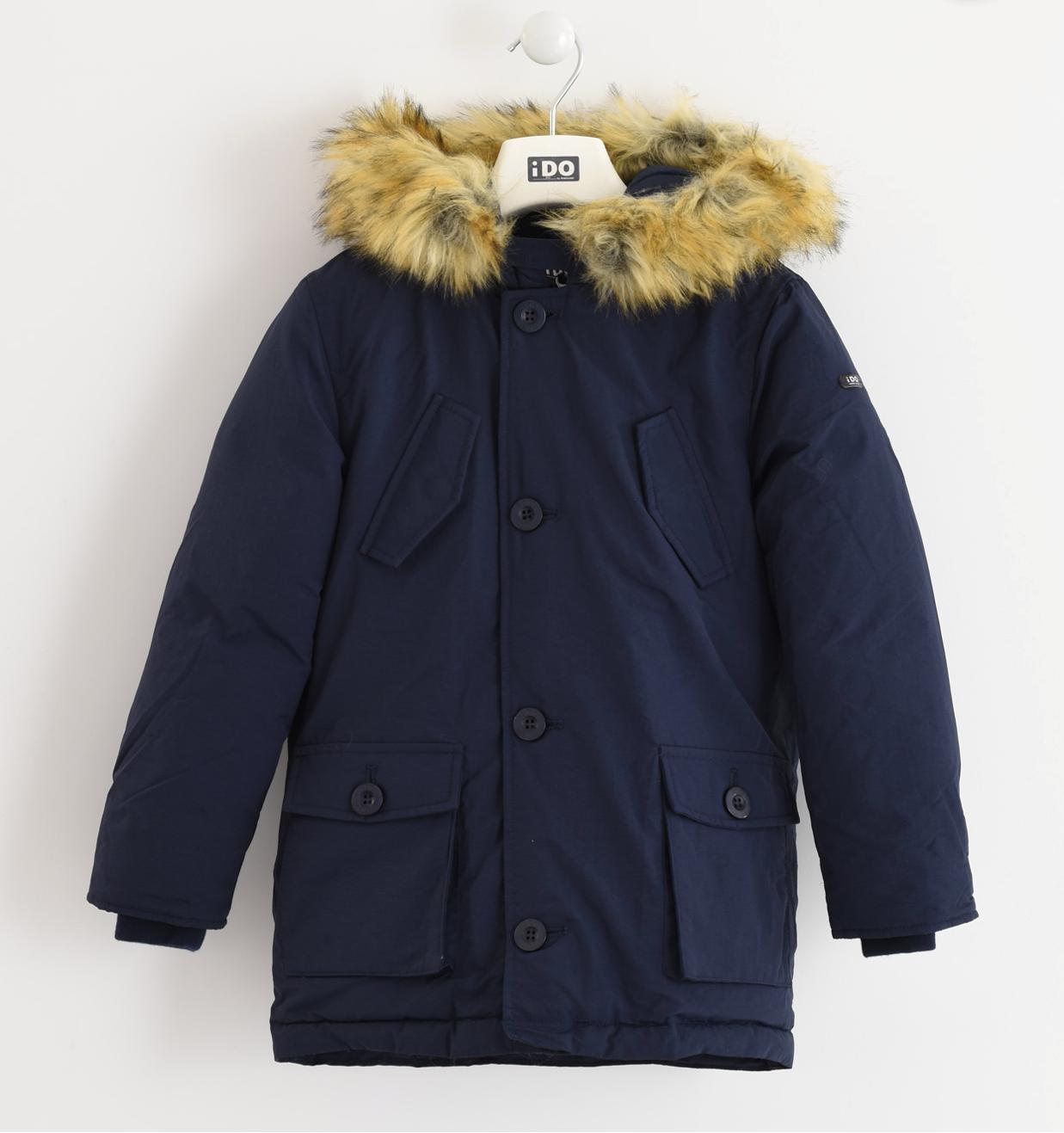 parka kék kabát levehető szőrmével