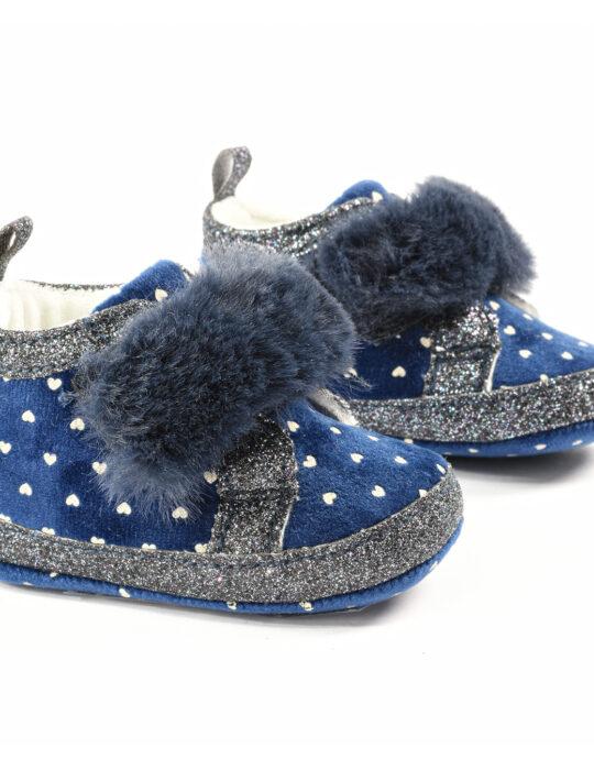 Kislány kék szivecskés szőrösbébi cipő