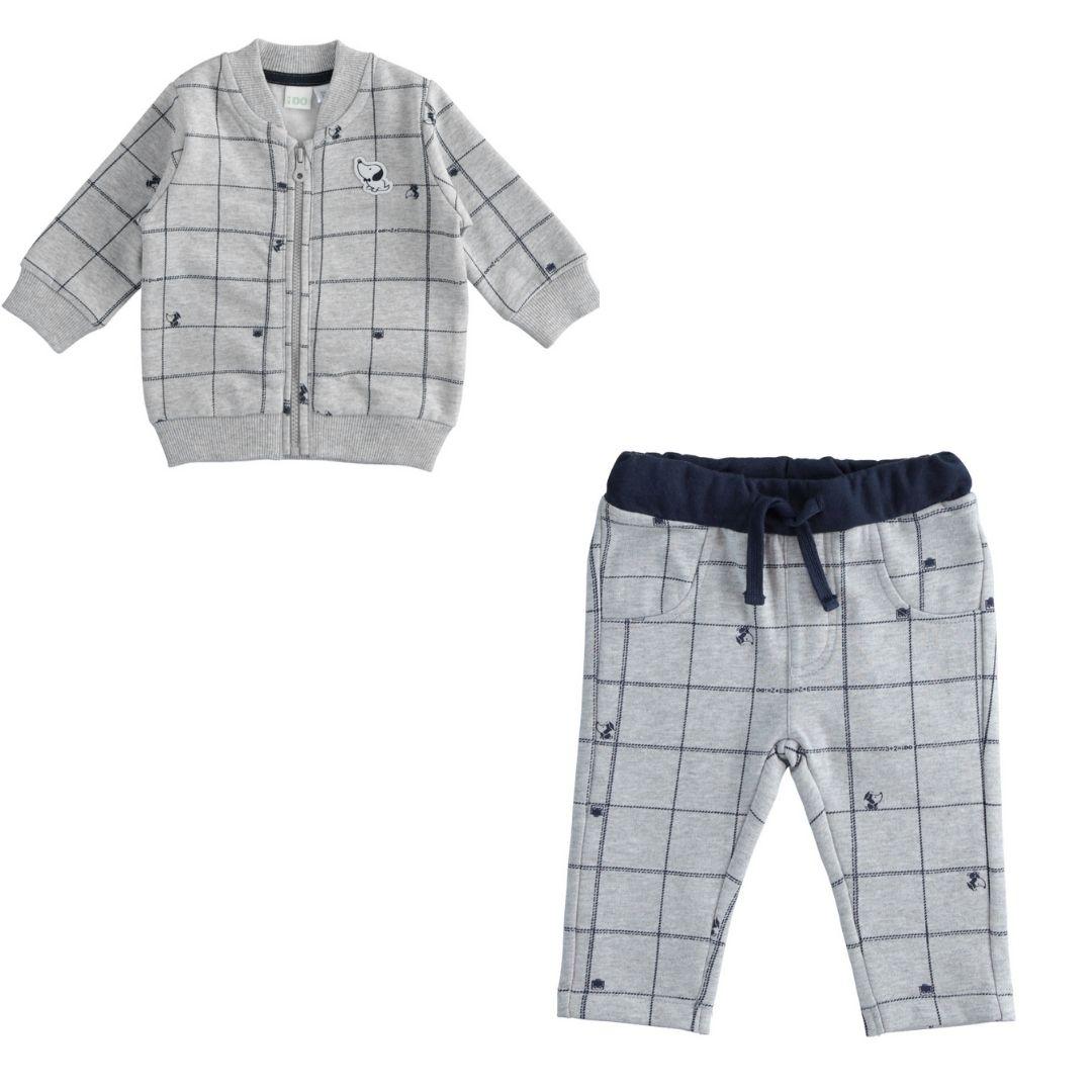 Kisfiú 2 részes pamut szett, megköthető nadrággal, cipzáros pulóverrel