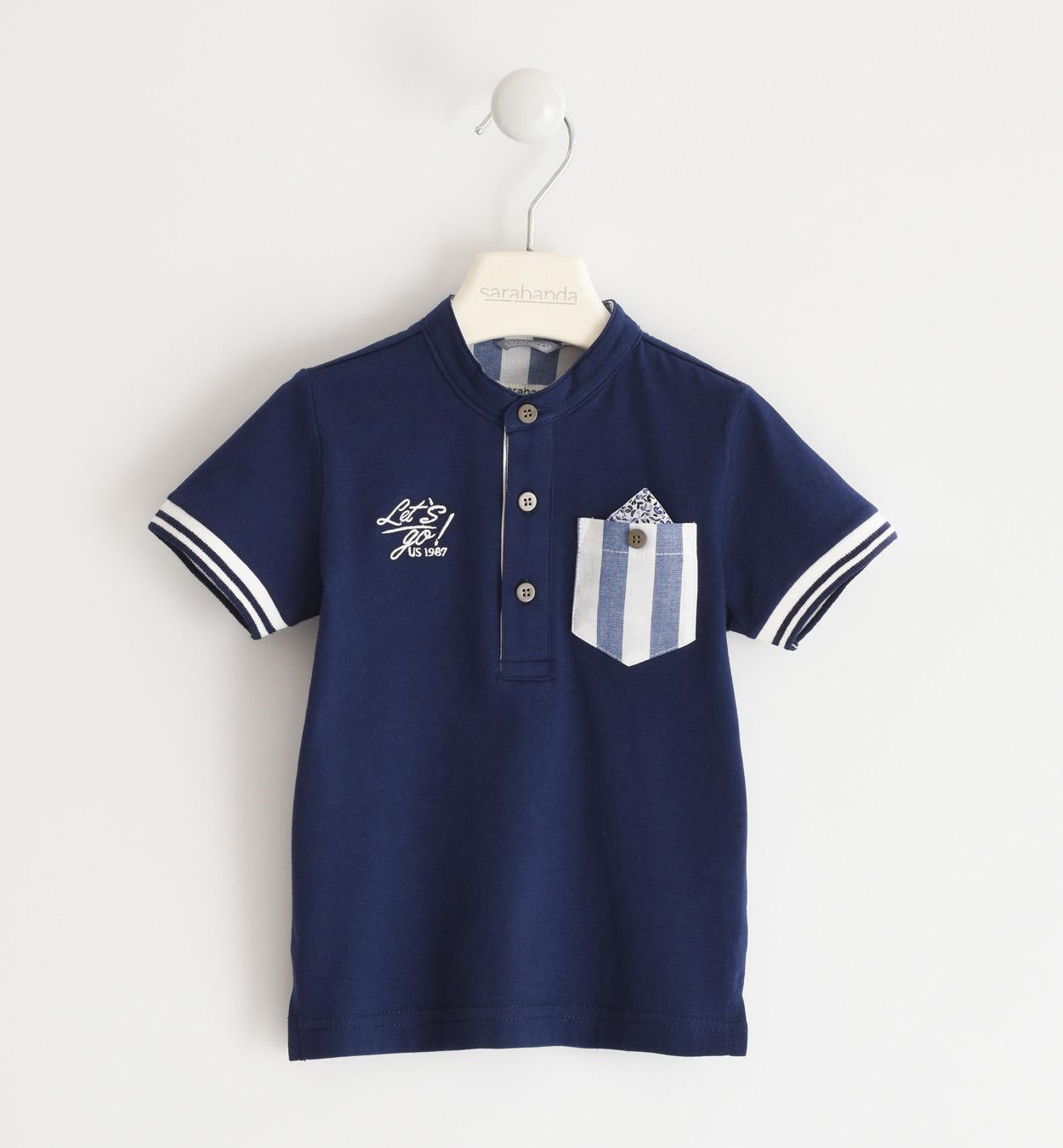 Sarabanda kék póló csíkos zsebbel