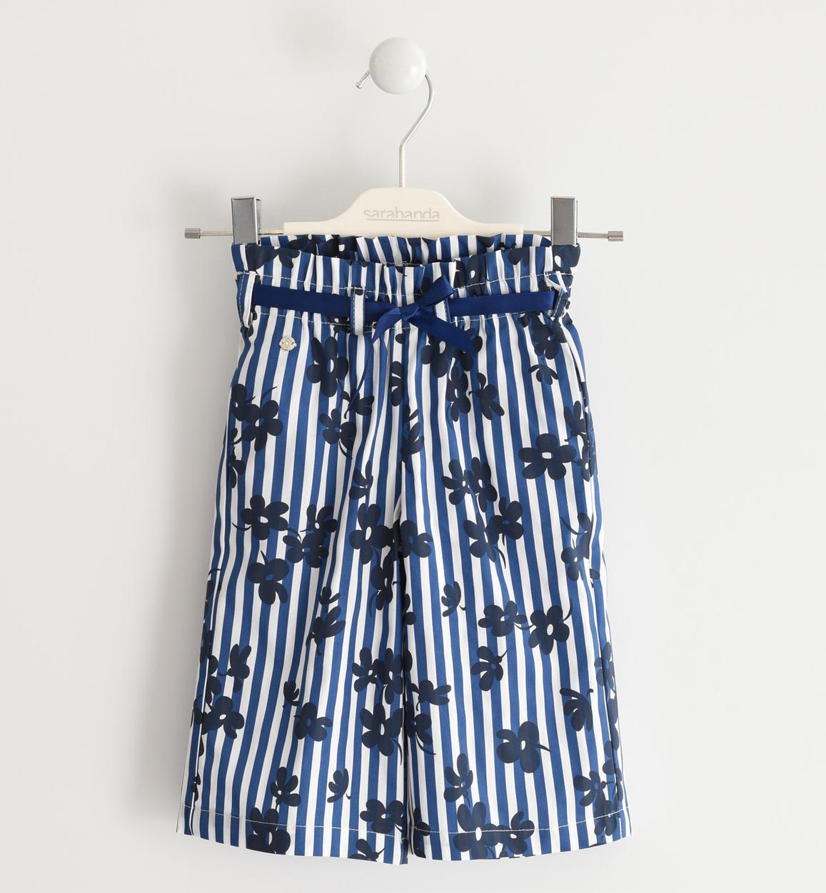 Sarabanda kék csíkos virágos kislány bő szárú nadrág