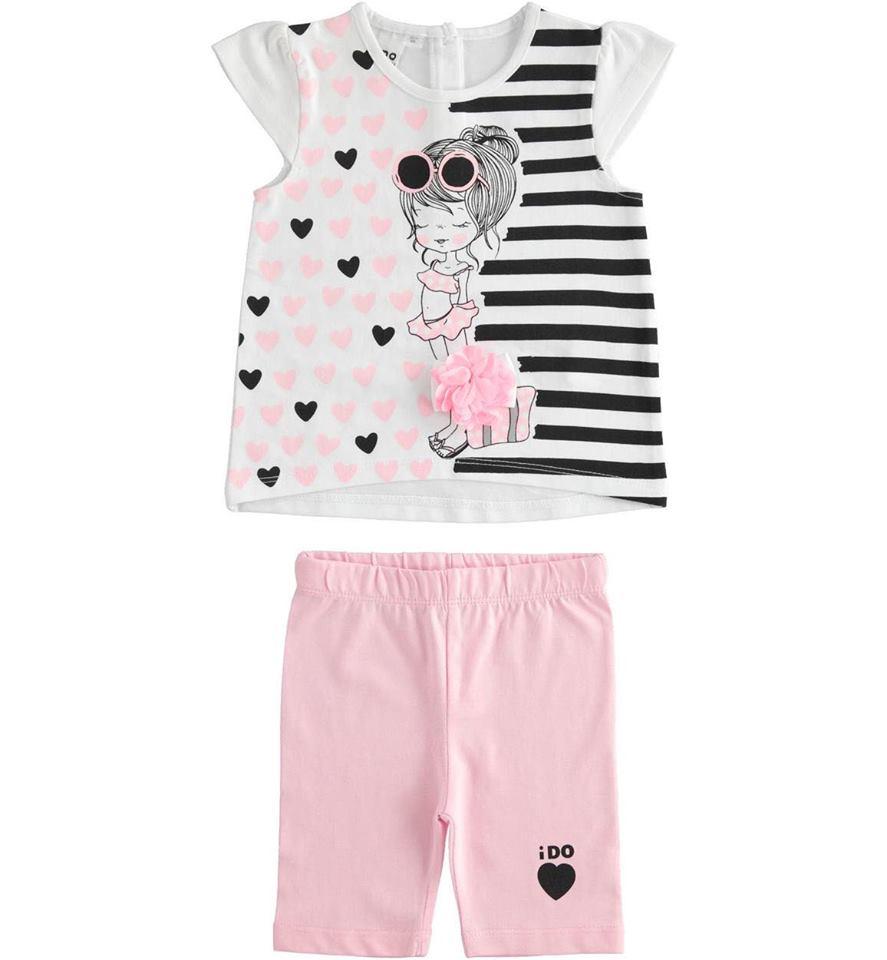 Ido kislányos rózsaszín pamut rövidnadrágos szett