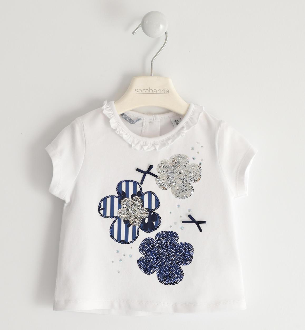 Sarabanda kék virágos pamut fehér póló