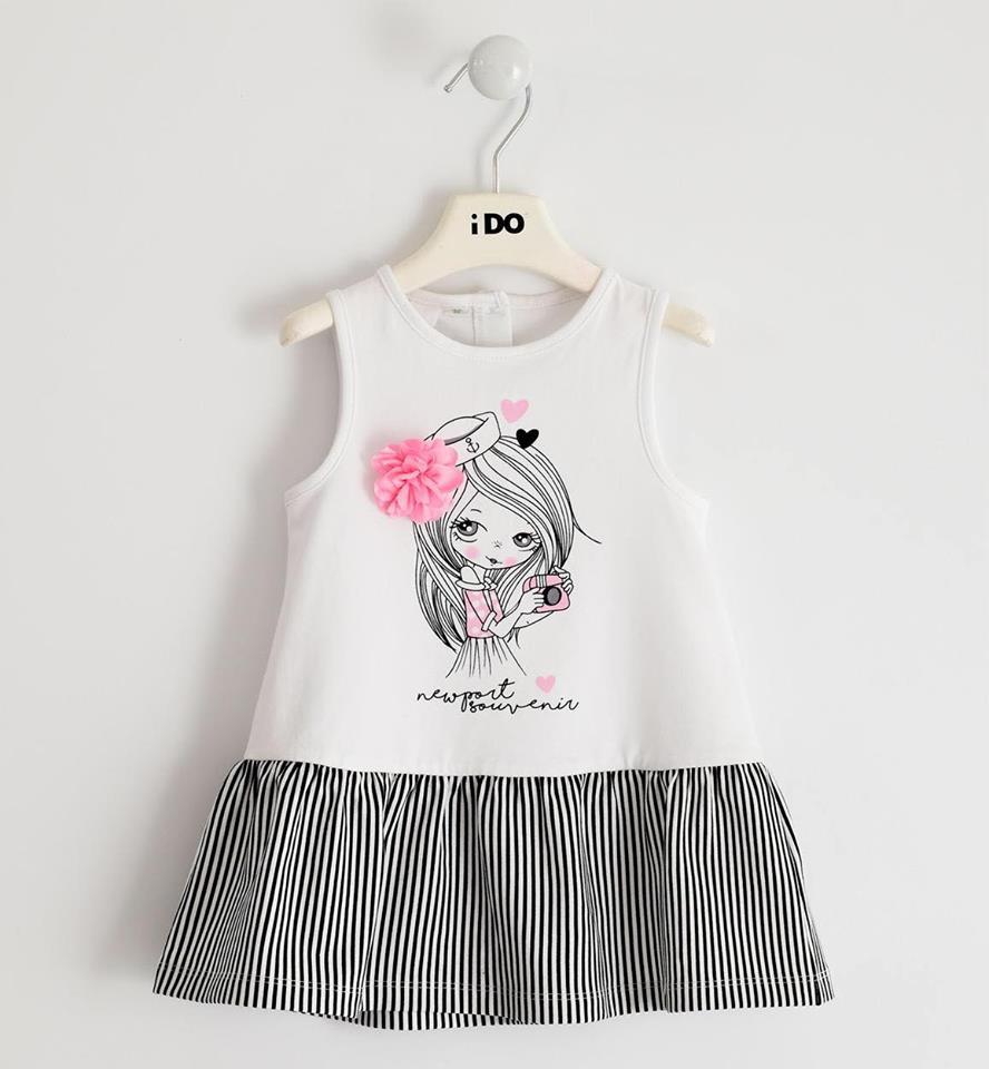 Ido kislányos fehér csíkos pamut nyári ruha