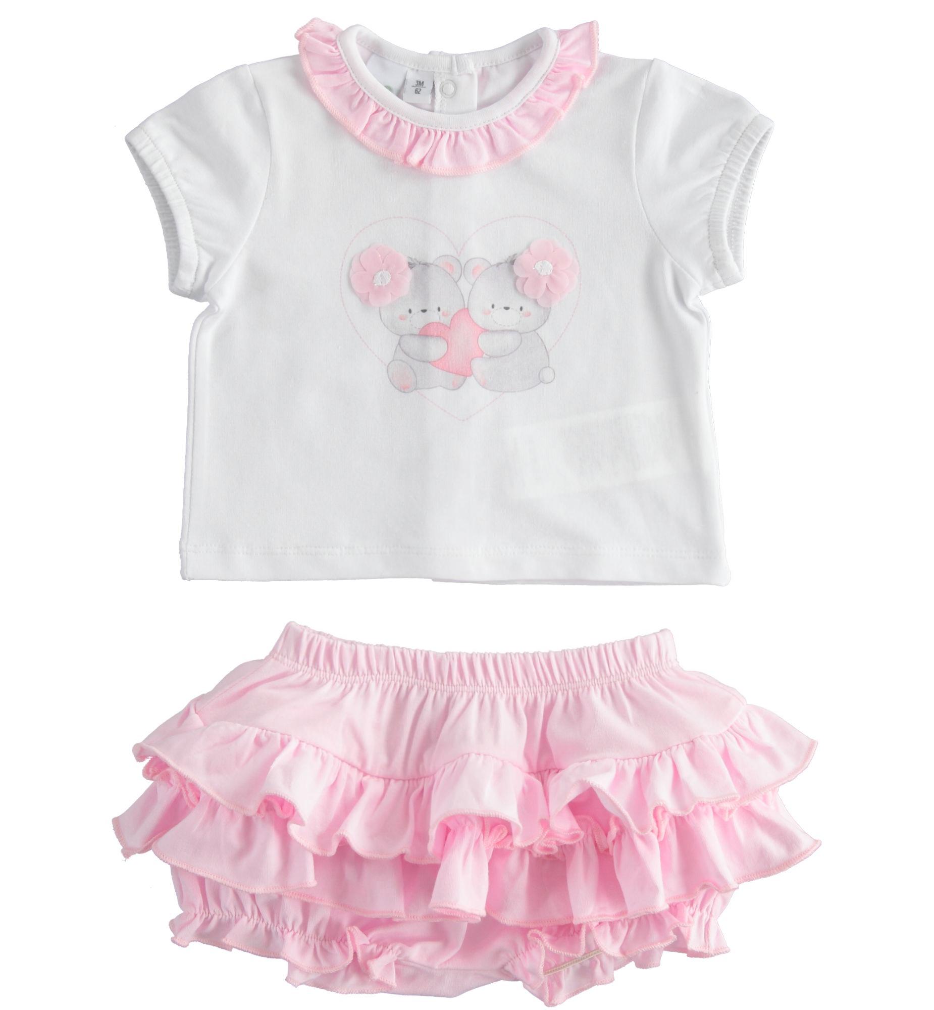 Újszülött kislány pamut rózsaszín fodros bugyi és póló