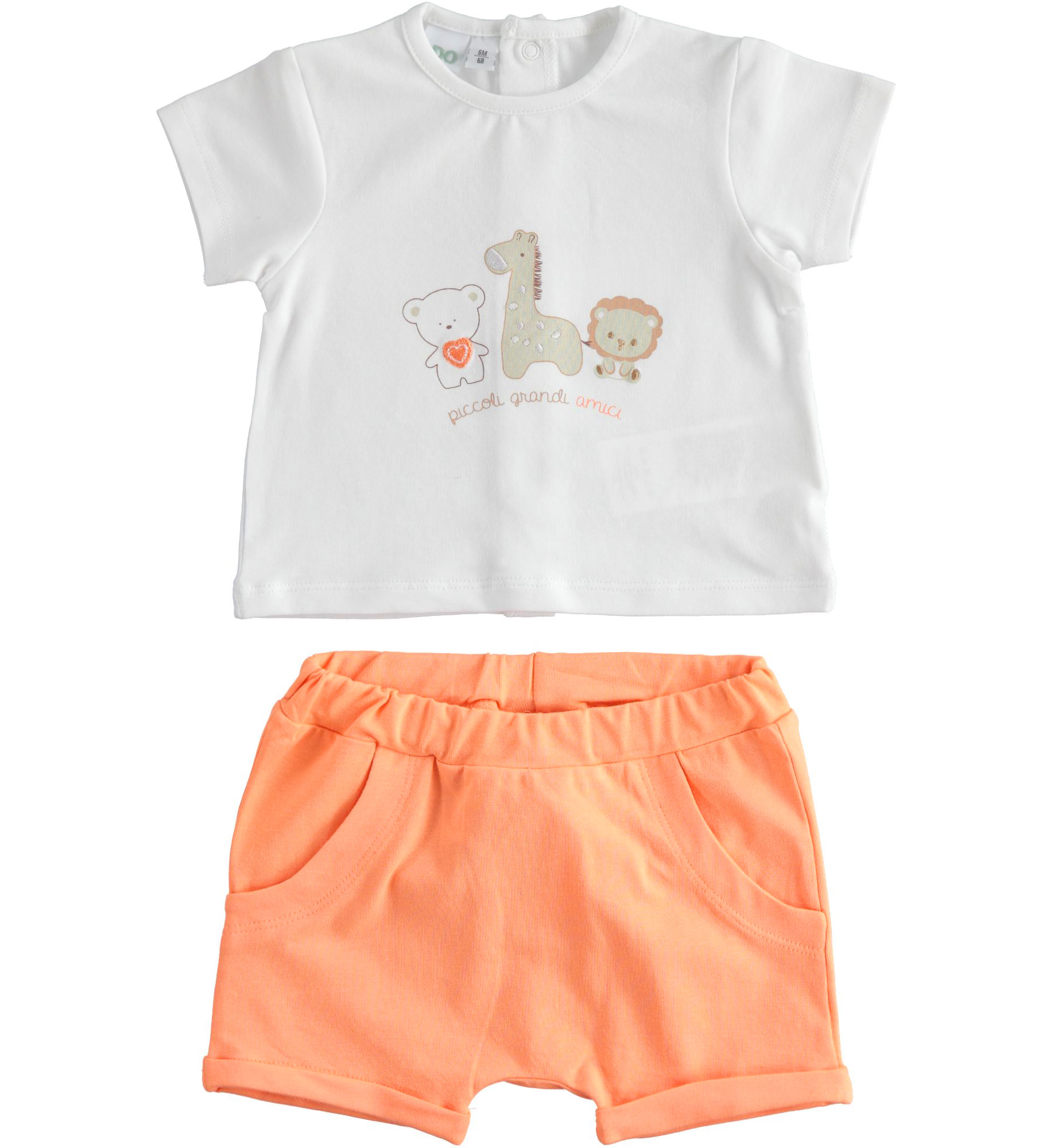 Újszülött narancssárga rövidnadrágos szett