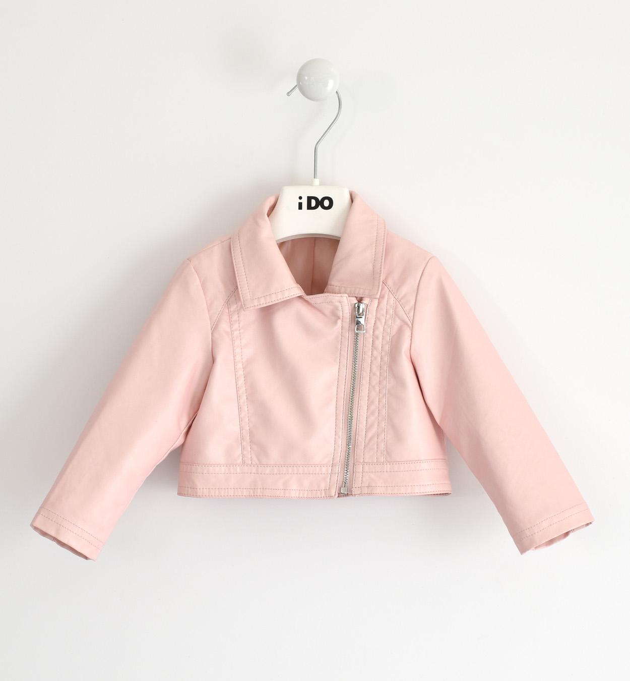 Kislány rózsaszín eco bőr kabát