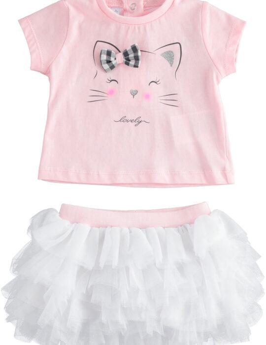 Cicás rózsazsín póló fehér tüll szoknyával
