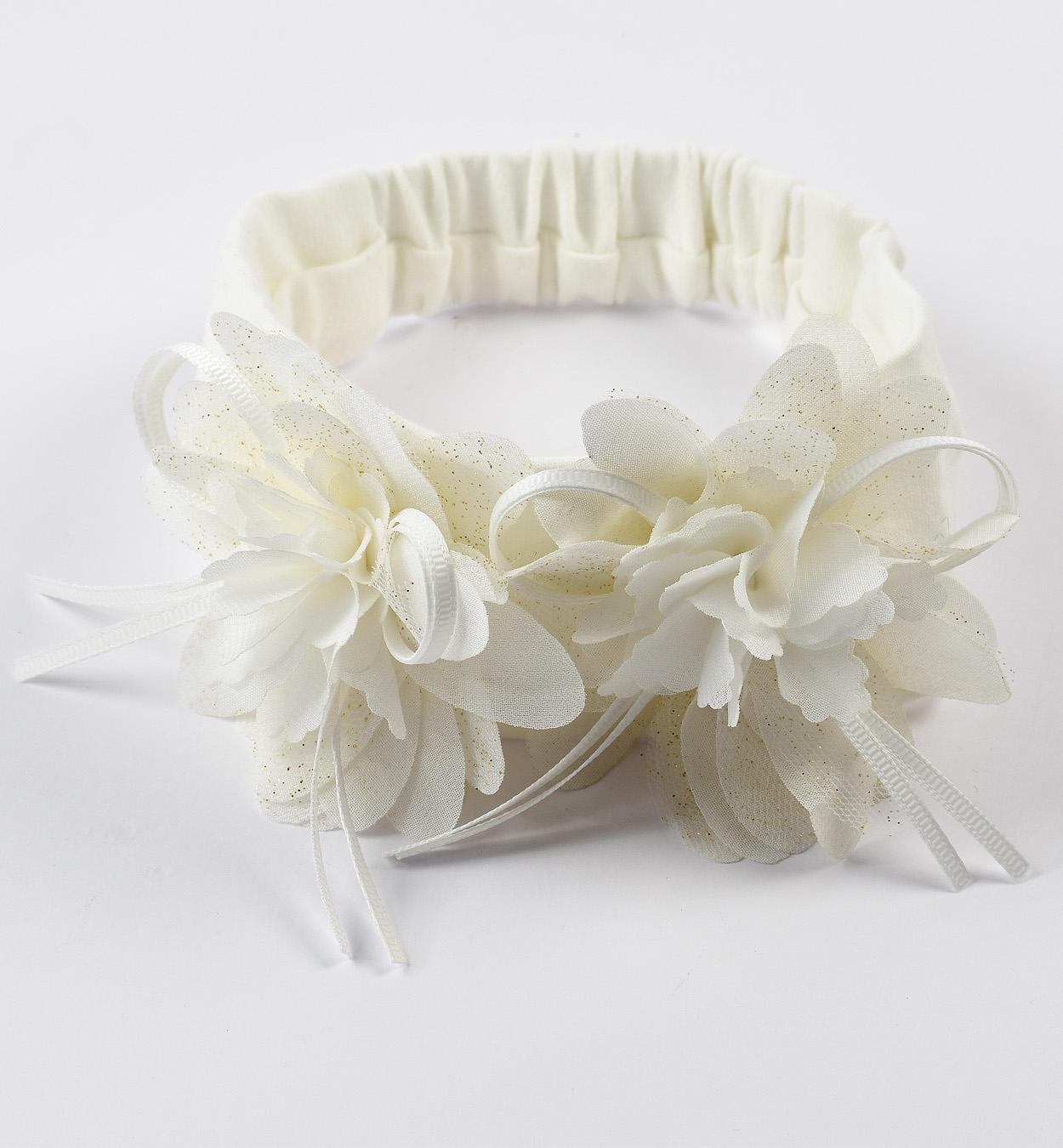 Sarabanda fehér virágos újszülött kislány hajpánt keresztelőre