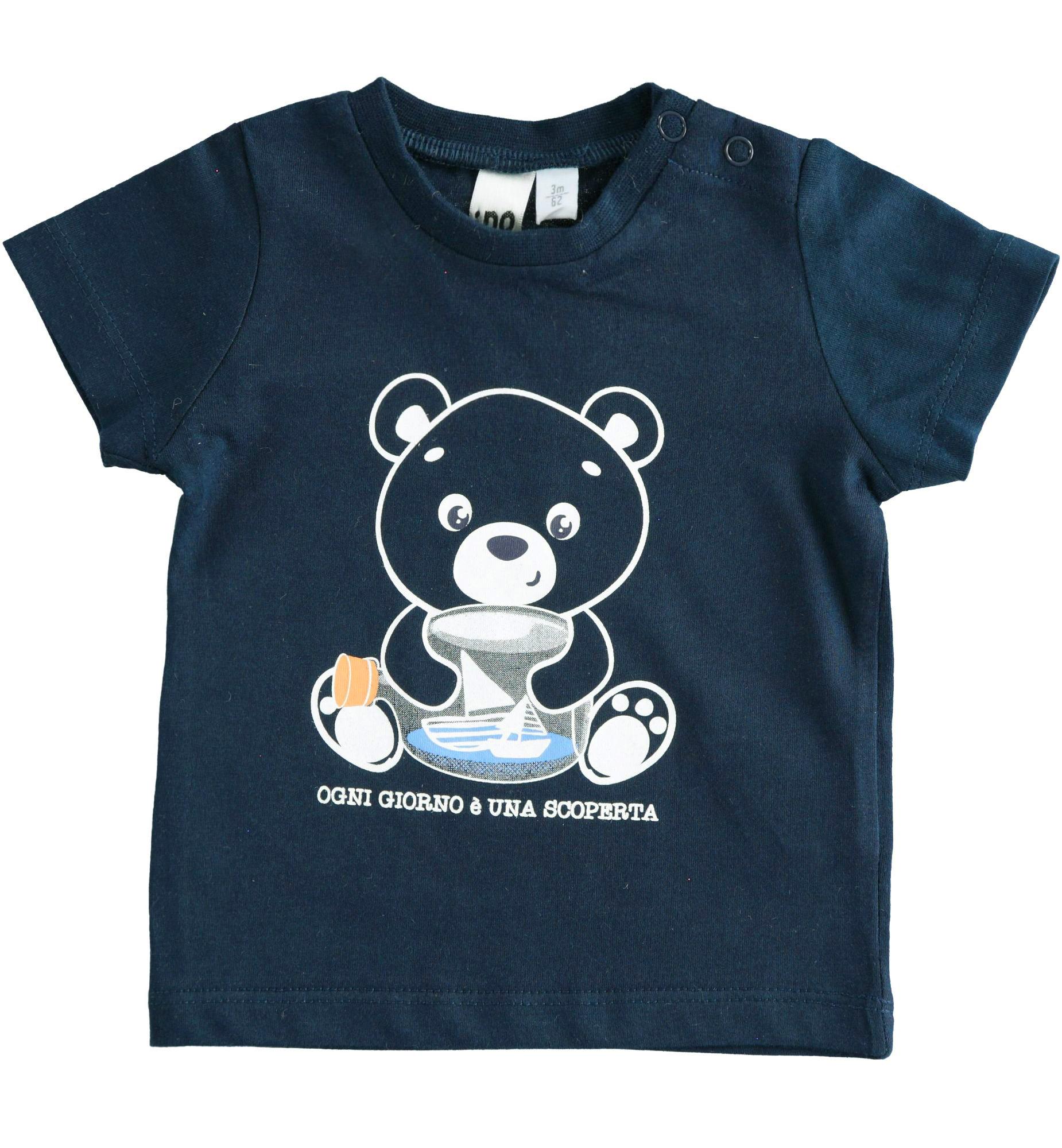 Kisfiú újszülött kék macis pamut póló