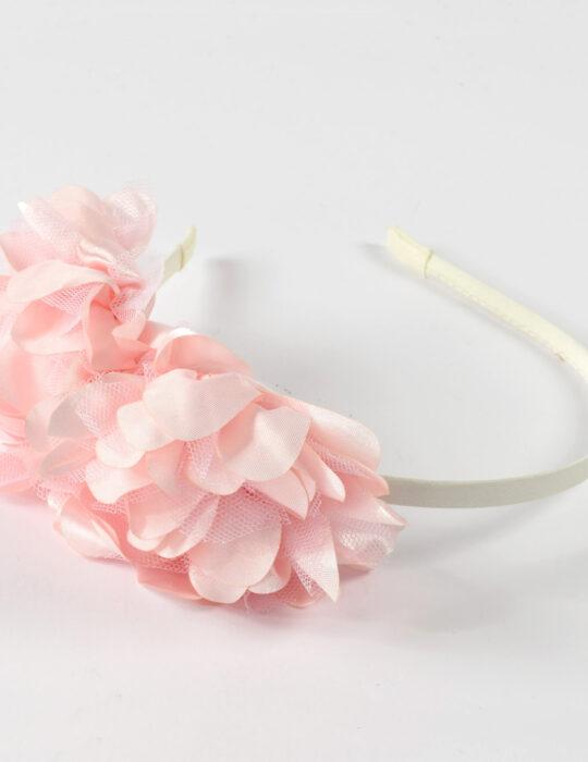 Kislány rózsaszín virágos hajpánt