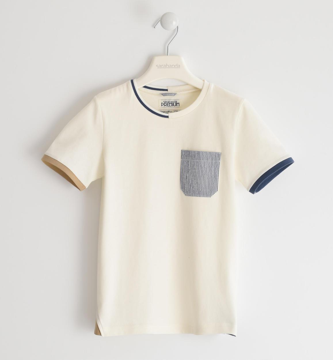 Sarabanda krém színú csíkos zsebes pamut póló