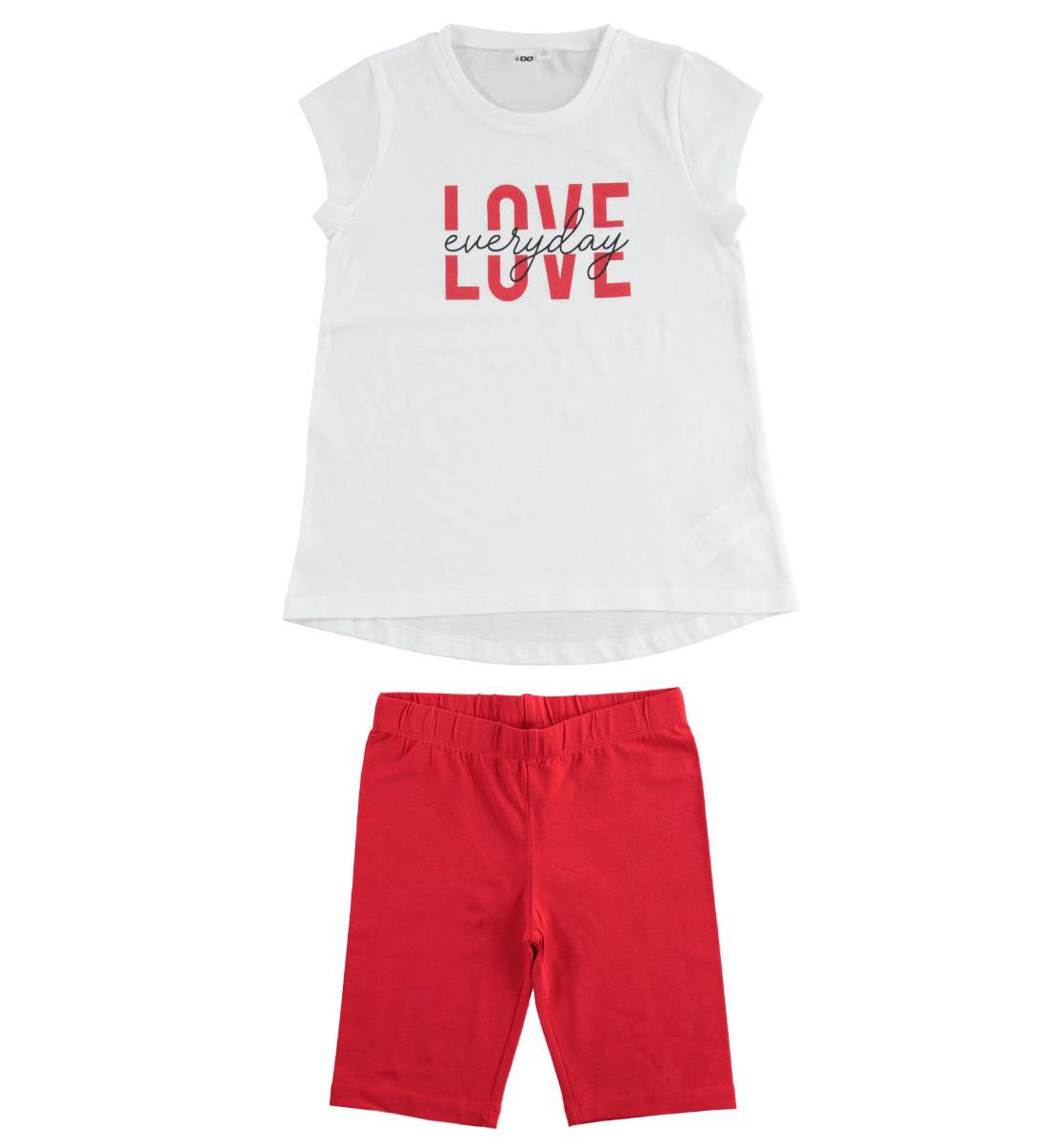 Piros rövidnadrágos szett fehér feliratos pamut pólóval