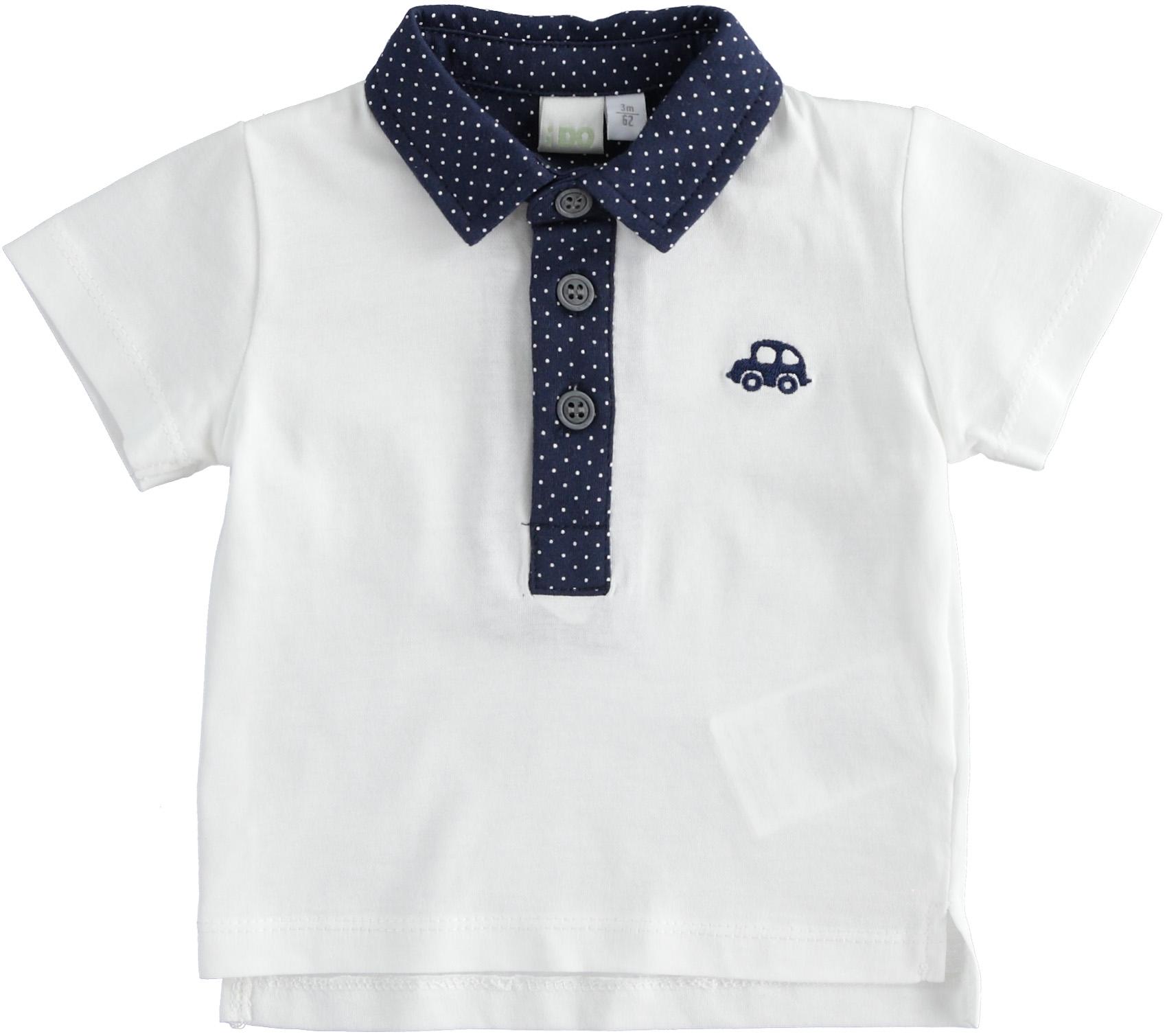 iDO fehér galléros kisfiú újszülött póló