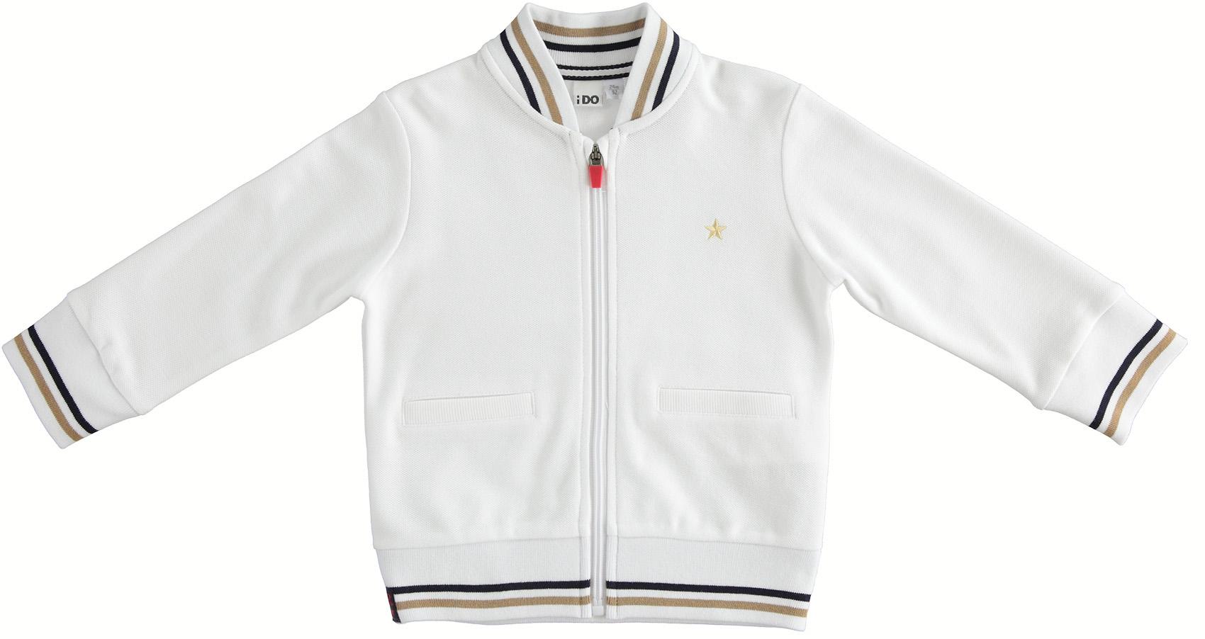 Fehér cipzáros pulóver kisfiúknak