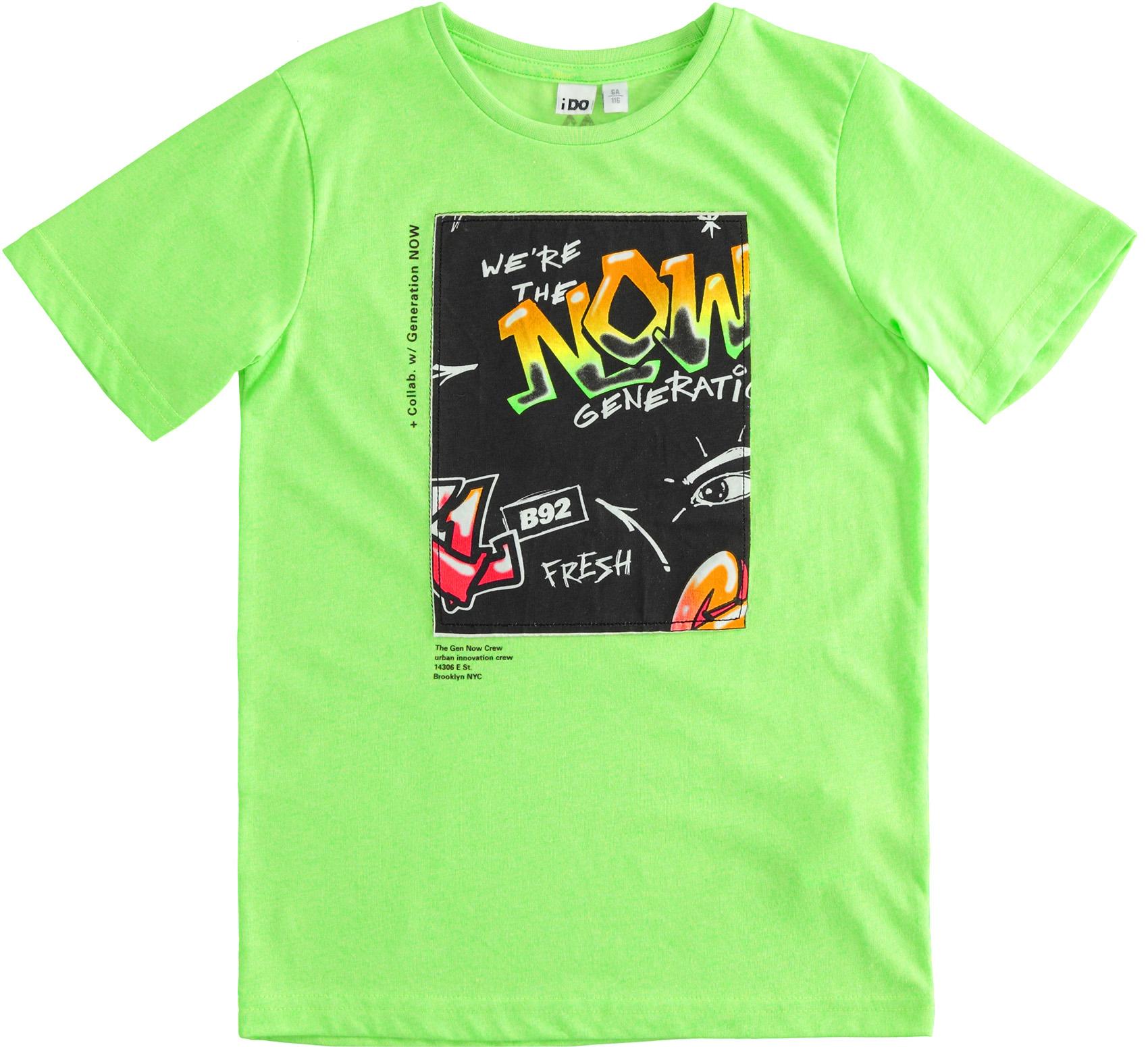 Neonzöld fiú pamut póló