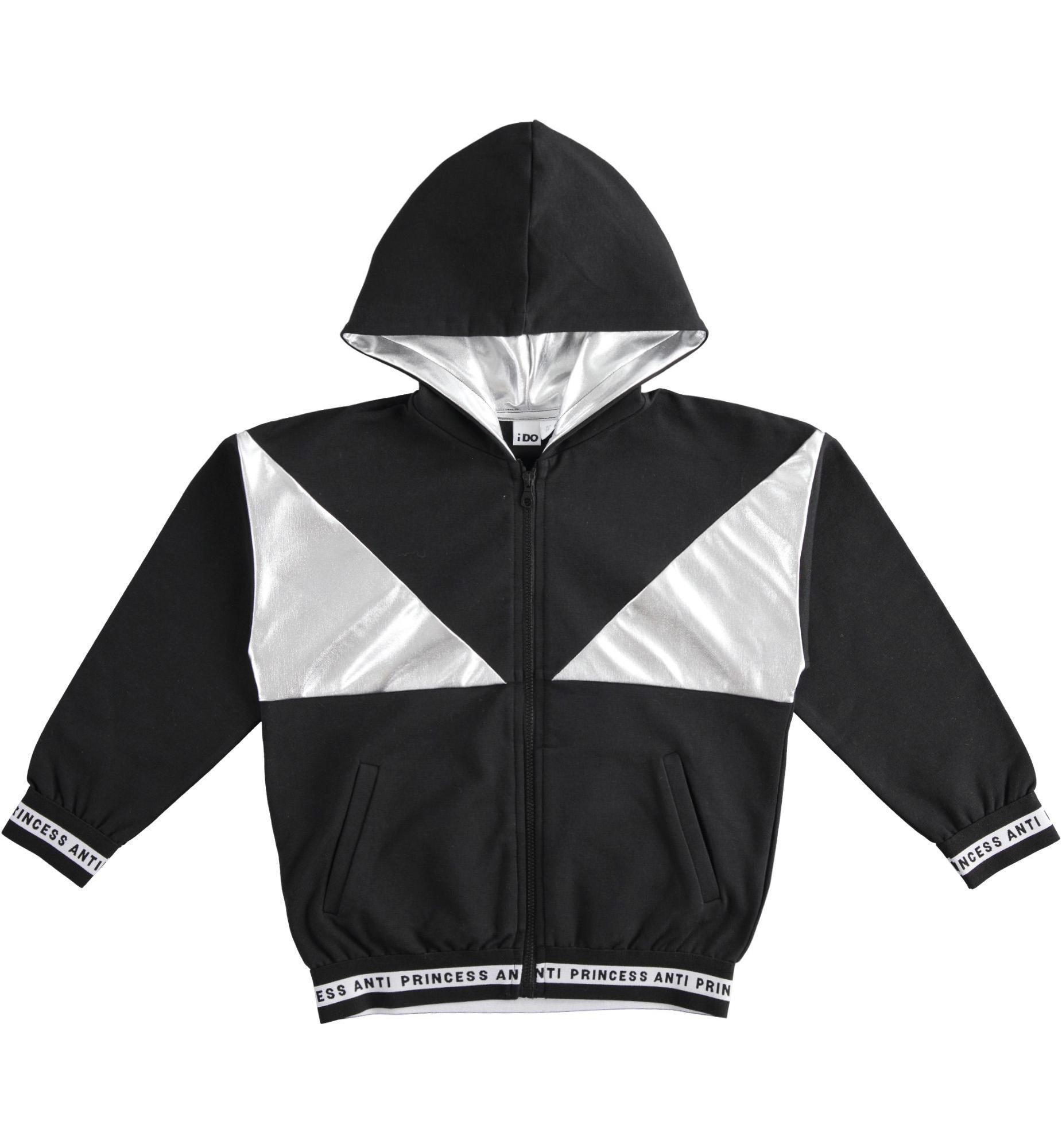 Ezüst betétes fekete kislány kapucnis cipzáros pulóver